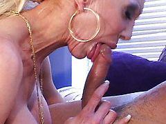Big tits blond MILF in stockings grinding