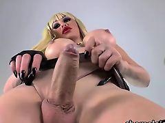TS crossdresser Ximena jacks sensually