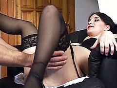 Hot pregnant chick rides a hard cock