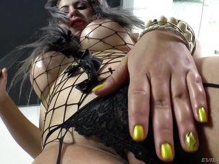 silver haired shemale slut tugs off in fishnet body suit