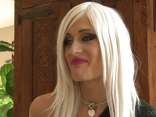 tall blonde tranny is on her knees in no time