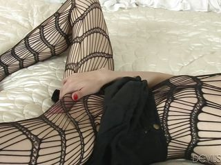 he licks her cock through her stockings