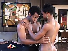 Black MILF gets her tits, pussy and asshole licked on the billiard table
