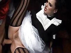 Hot brunette keeps her stockings on and gets a great fuck