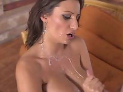 Huge messy cumshot on tits