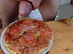 Cum on a pizza