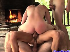 Escaped twink anal fucked before bukkake from jock