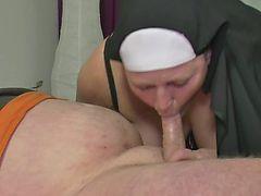 German MILF Nun fucks Man first Time