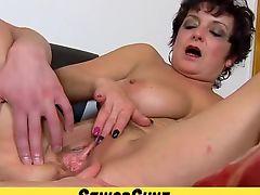 Fifty years old Lady Greta vagina widining close-ups
