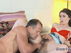 Hairy Milfs pussy licked and banged in bedroom
