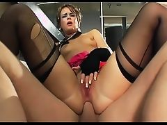 Claire fucking in the bathroom in sexy lingerie