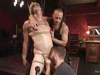 blindfolded stud gets dominated