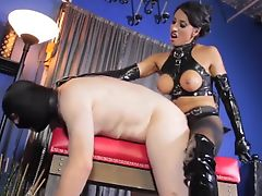Mistress fucking her slave boy like the slave he is.