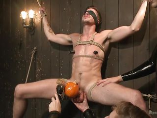 gay slave bound, humiliated and wanked