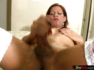 shemale in white stockings teases huge ass and jerks shecock