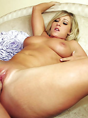 Naturally Busty Blond Swallows Hot Load