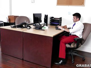 handsome employee sucking boss's cock and swallowing cum