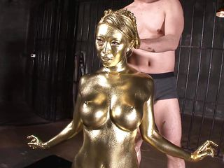 japanese cutie with big boobs is covered in gold