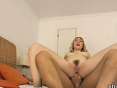 Bushy amateur blonde gf tries out anal sex on camera