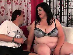 Horny plumper gets undressed by her buddy She gives him a