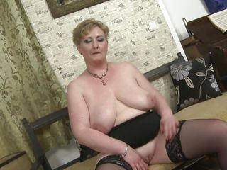 busty and fat older lady strips