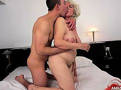 Hairy pussy pornstar titty fuck and cum in mouth