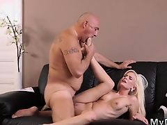 Old granny threesome Horny blond wants to try someone tiny b