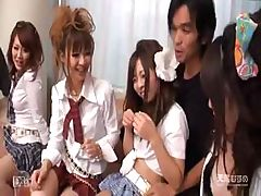 Japanese girls are in an orgy and suck and fuck these cocks