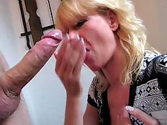Mature blonde German chick strokes his cock for load on tits