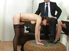 Secretary spanked for being late