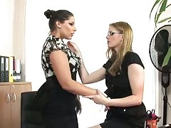 Zafira and katalin kiraly's hot lesbian office sex