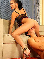 Stunning female in red panties lashing her slave while he's sucking her hard clit