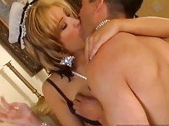 Gorgeous Maid Kimberly Kane in Sexy Uniform Fucked in MMF Threesome