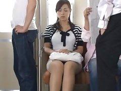 Japanese Janitor Reiko Nakamori Eats Cum While Fucking In A Gangbang