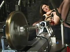 Incredible Banging by a Machine for Brunette in Sexy Black Lingerie