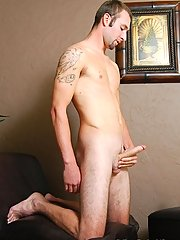 Tattooed college boy busts a nut.