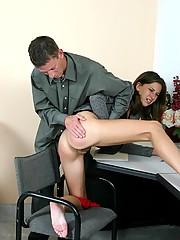 Panty wearing hottie gets an intense spanking