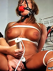 Sexual enthusiast Orabella strips down to an assless leather skirt and gets tied up by master Scott