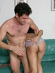 Intense interracial spanking threesome