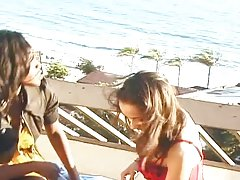 Two smoking hot ebony lesbian babes are having fun on the deck