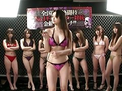 Amazing Japanese girls toy their wet pussies on the ring