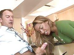 Bella Moretti the horny mulatto gets fucked in the kitchen