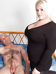 Chubby blonde caught guy rubbing it