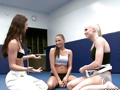 Wrestling turns to hot banging between three extremely sexy babes