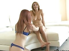 Lesbian pleasures with a pink vibrator