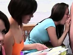 Group of college girls gagging one dick