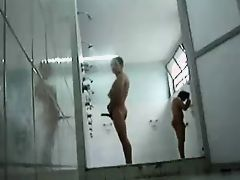 exhibitionist films himself jacking in public shower hot