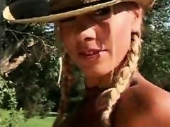 Cowgirl with pigtails strips for us